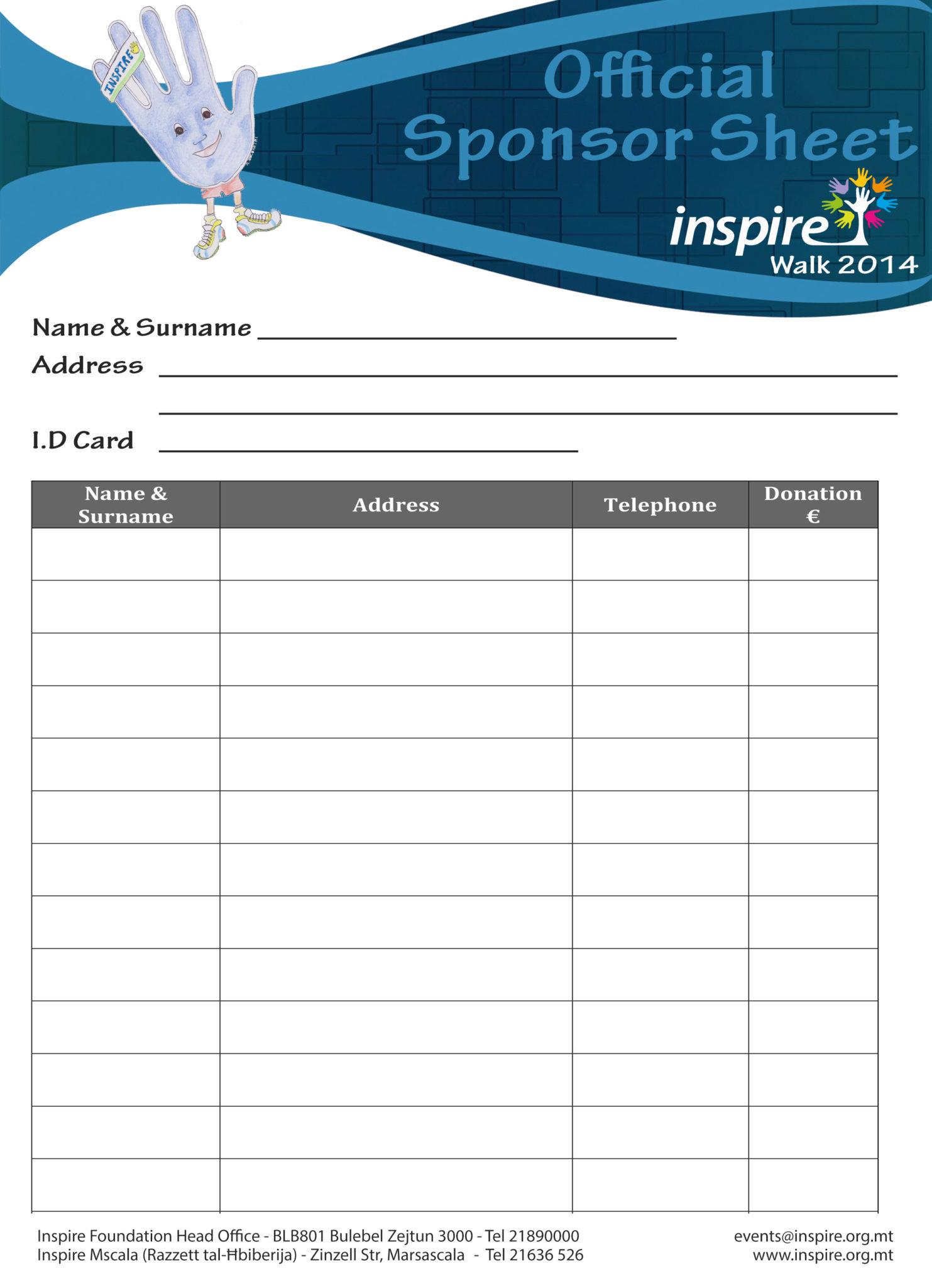 Doc725946 Sponser Sheet Sponsorship Form Template 85 – Sponsorship Sheet Template